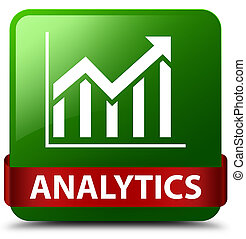 Analytics (statistics icon) green square button red ribbon in middle