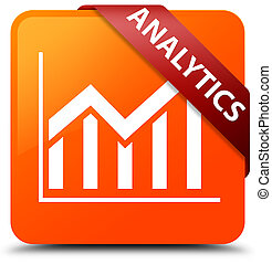 Analytics (statistics icon) orange square button red ribbon in corner