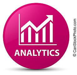 Analytics (statistics icon) pink round button