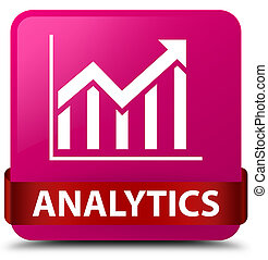 Analytics (statistics icon) pink square button red ribbon in middle