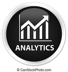 Analytics (statistics icon) premium black round button