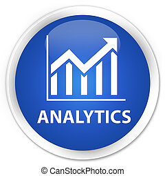 Analytics (statistics icon) premium blue round button