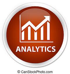 Analytics (statistics icon) premium brown round button