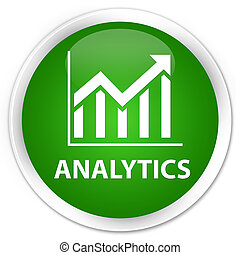 Analytics (statistics icon) premium green round button