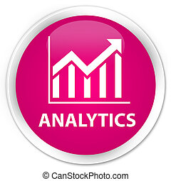 Analytics (statistics icon) premium pink round button