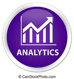 Analytics (statistics icon) premium purple round button