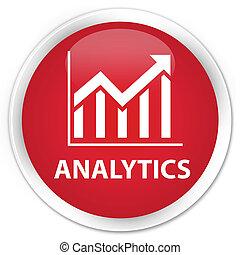 Analytics (statistics icon) premium red round button