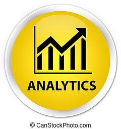Analytics (statistics icon) premium yellow round button