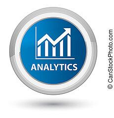 Analytics (statistics icon) prime blue round button