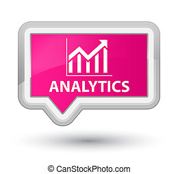 Analytics (statistics icon) prime pink banner button