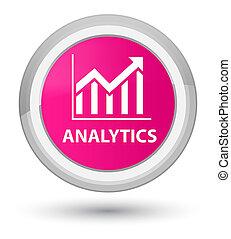 Analytics (statistics icon) prime pink round button