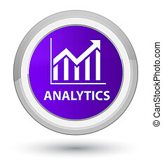 Analytics (statistics icon) prime purple round button