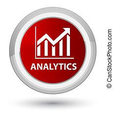 Analytics (statistics icon) prime red round button