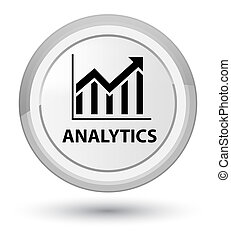 Analytics (statistics icon) prime white round button