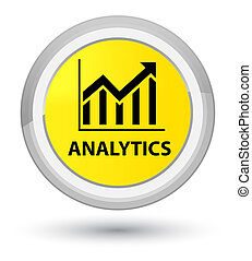 Analytics (statistics icon) prime yellow round button