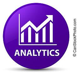 Analytics (statistics icon) purple round button