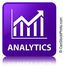 Analytics (statistics icon) purple square button