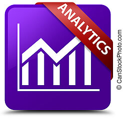 Analytics (statistics icon) purple square button red ribbon in corner