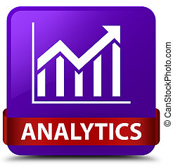 Analytics (statistics icon) purple square button red ribbon in middle