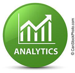 Analytics (statistics icon) soft green round button