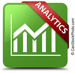 Analytics (statistics icon) soft green square button red ribbon in corner