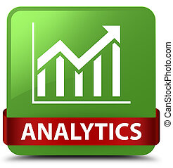 Analytics (statistics icon) soft green square button red ribbon in middle
