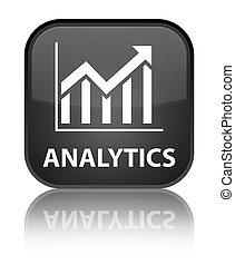 Analytics (statistics icon) special black square button