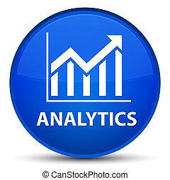 Analytics (statistics icon) special blue round button