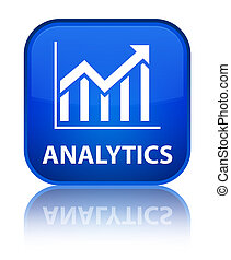 Analytics (statistics icon) special blue square button