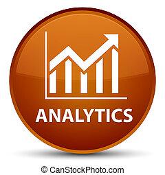 Analytics (statistics icon) special brown round button