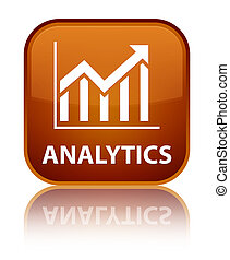 Analytics (statistics icon) special brown square button