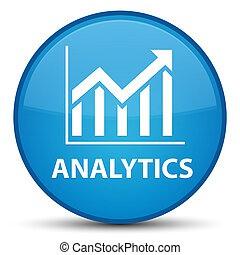Analytics (statistics icon) special cyan blue round button