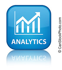 Analytics (statistics icon) special cyan blue square button