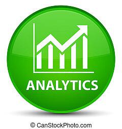 Analytics (statistics icon) special green round button