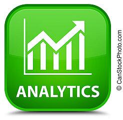 Analytics (statistics icon) special green square button