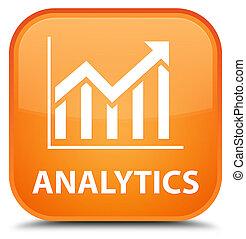 Analytics (statistics icon) special orange square button