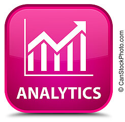 Analytics (statistics icon) special pink square button