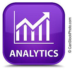 Analytics (statistics icon) special purple square button