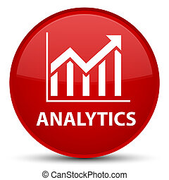 Analytics (statistics icon) special red round button