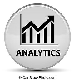 Analytics (statistics icon) special white round button