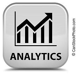 Analytics (statistics icon) special white square button