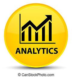 Analytics (statistics icon) special yellow round button