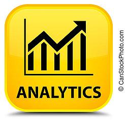 Analytics (statistics icon) special yellow square button