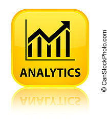 Analytics (statistics icon) special yellow square button