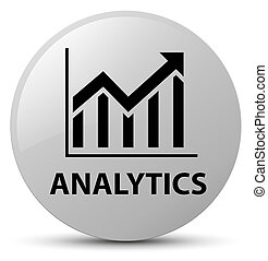 Analytics (statistics icon) white round button