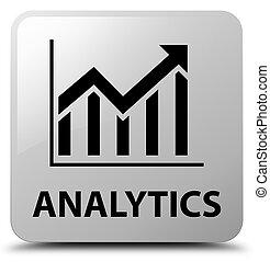 Analytics (statistics icon) white square button