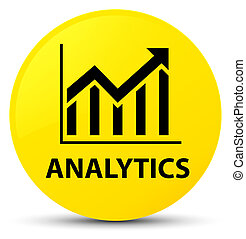 Analytics (statistics icon) yellow round button