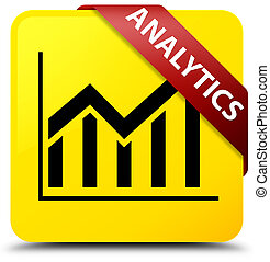 Analytics (statistics icon) yellow square button red ribbon in corner
