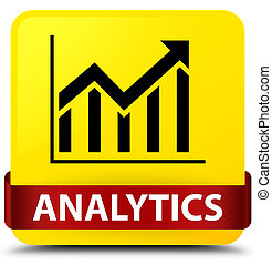 Analytics (statistics icon) yellow square button red ribbon in middle