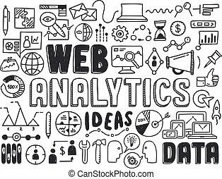 analytics, teia, elementos, doodle